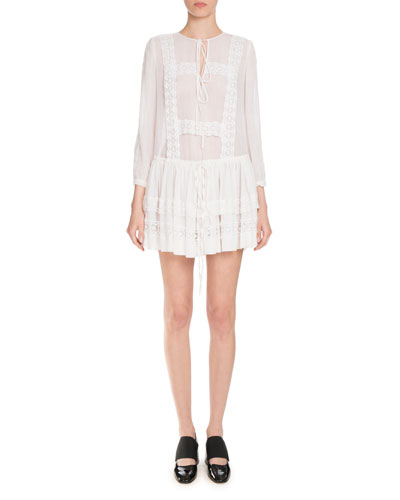Layered Lace-Trim Long-Sleeve Dress, White