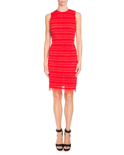 Sleeveless Stripe-Ruffled Sheath Dress, Red