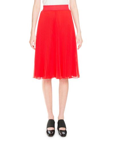 Plissé Elastic-Waist Midi Skirt, Red