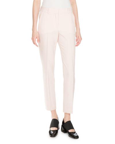 Skinny Cropped Wool Trousers, Skin