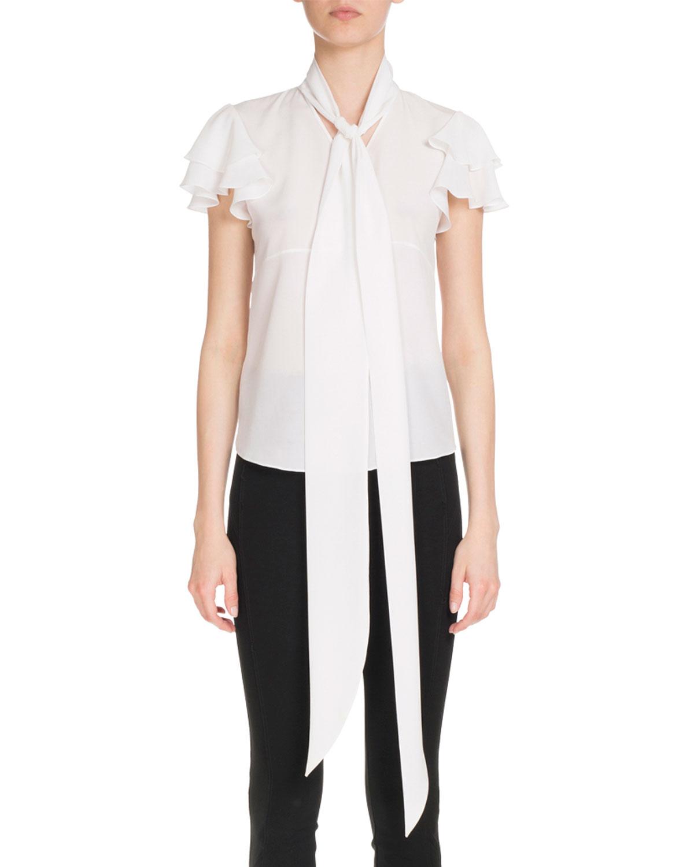 Tie-Neck Flutter-Sleeve Blouse, White