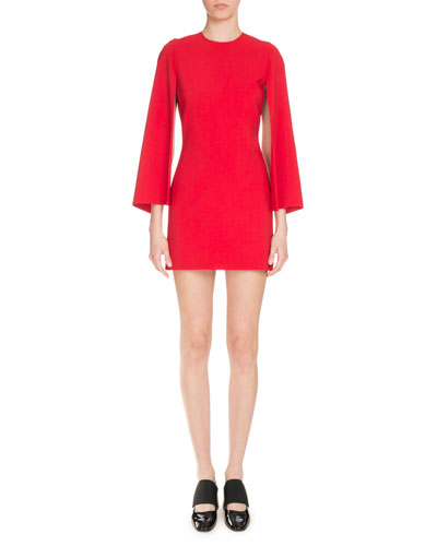 Fitted Cape-Sleeve Shift Dress, Red