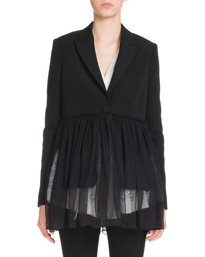 Pleated-Chiffon One-Button Jacket, Black