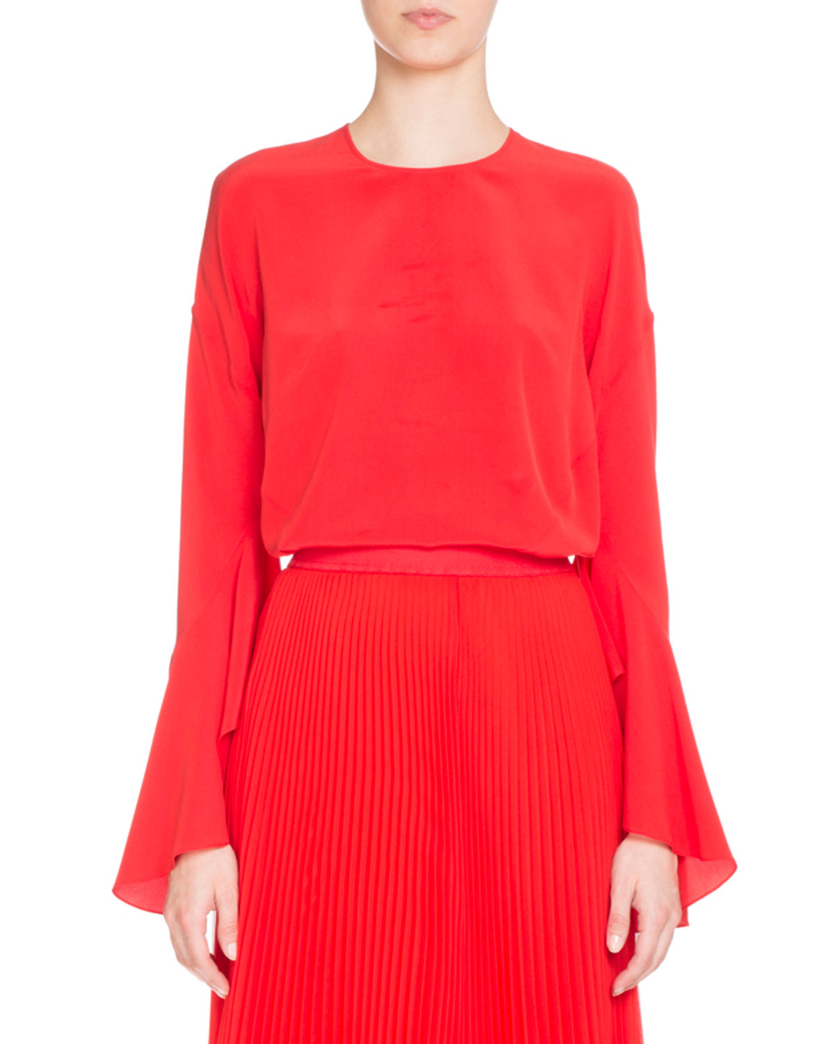 Bell-Sleeve Jewel-Neck Silk Blouse, Red