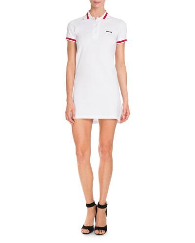 Pique Knit Polo Dress, White