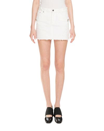 Distressed Denim Mini Skirt, White