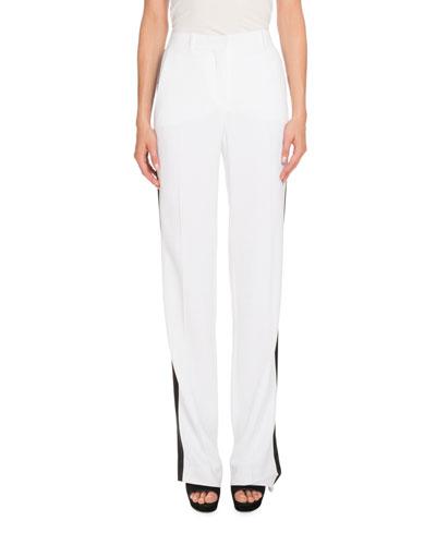 Tuxedo-Stripe High-Waist Pants, White/Black