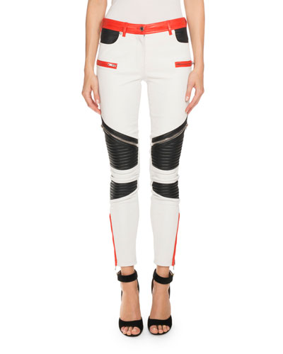 Colorblock Leather Moto Pants, Multi