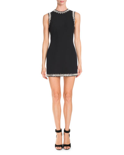 Crystal-Trim Sleeveless Mini Dress, Black