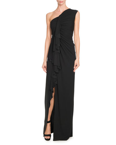 Ruffled Crepe Jersey One-Shoulder Gown, Black