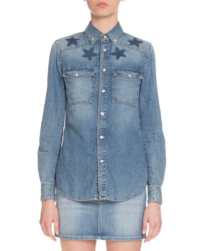 Star-Print Denim Button-Down Shirt, Blue