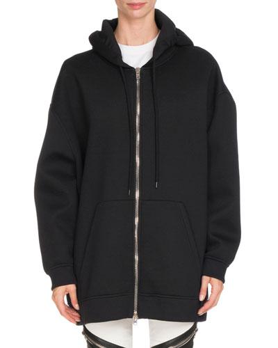 Neoprene Zip-Front Hooded Jacket, Black