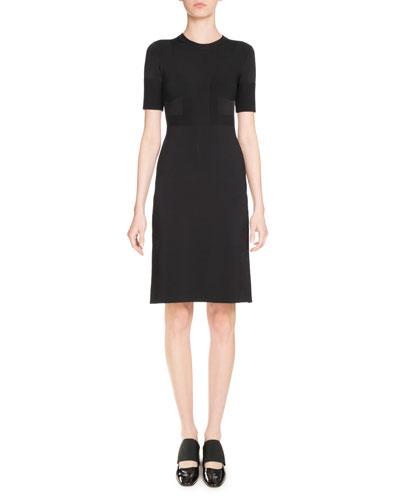 Punto Knit Short-Sleeve Dress, Black