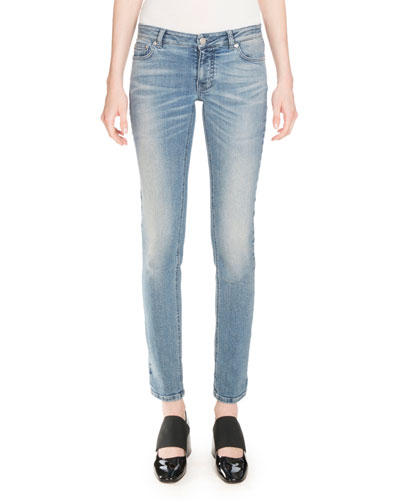 Star-Print Straight-Leg Jeans, Blue