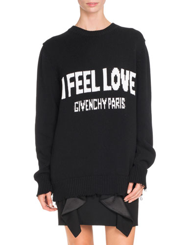 I Feel Love Graphic Sweater, Black
