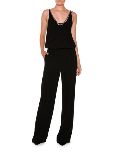 Chain-Trim Blouson Wide-Leg Jumpsuit, Black