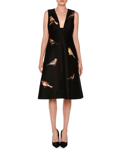 Sleeveless Bird-Embroidered Dress, Black