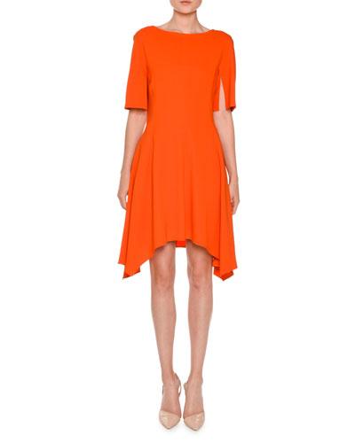 Short-Sleeve Boat-Neck Handkerchief-Hem Dress, Poppy