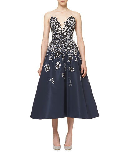 Floral-Embroidered Strapless A-Line Cocktail Dress, Indigo