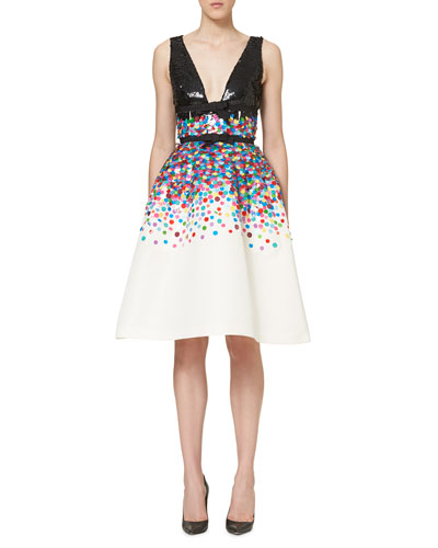 Sequined Sleeveless Cocktail Dress, Multicolor