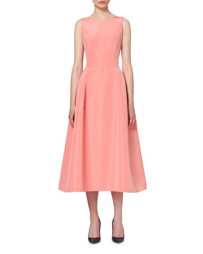 Sleeveless Tie-Back Midi Cocktail Dress, Shell Pink