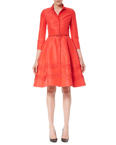 Sequined 3/4-Sleeve Belted Shirtdress, Poppy