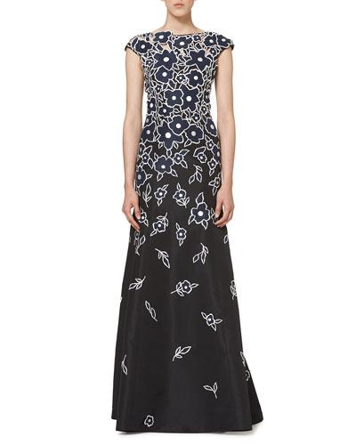 Floral Patchwork Cap-Sleeve Gown, Black/Navy