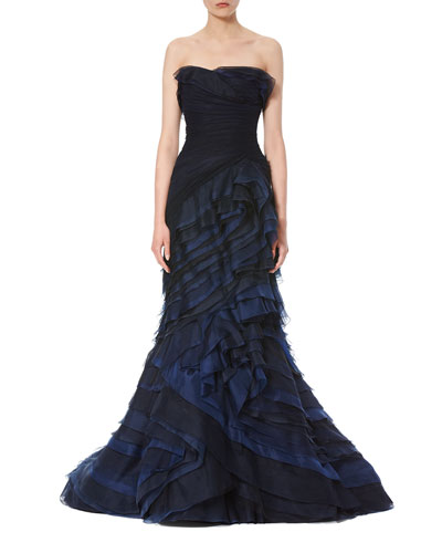 Strapless Ombre Ruffled Gown, Navy