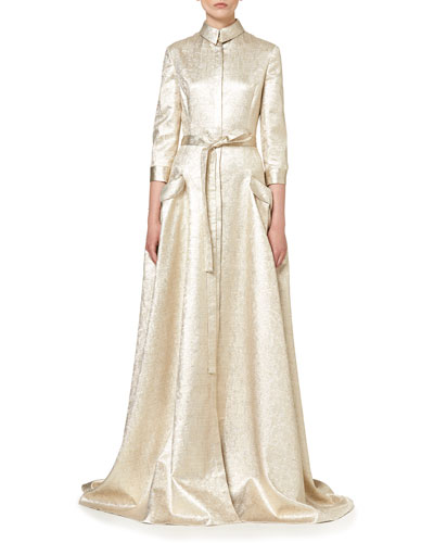 Metallic 3/4-Sleeve Trench Gown, Gold