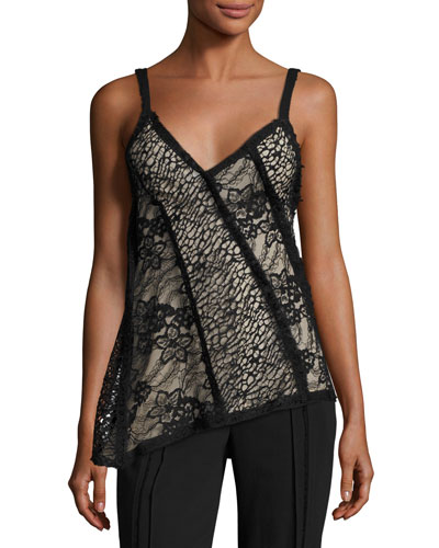 Lace Asymmetric-Hem Tank, Black