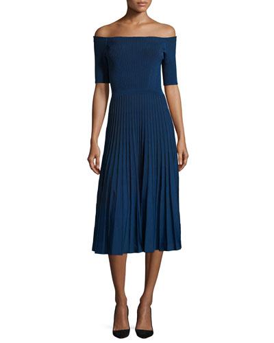 Off-the-Shoulder Ribbed Half-Sleeve Dress, Cobalt