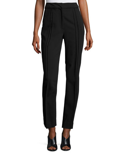 High-Rise Seamed Slim-Leg Pants, Black