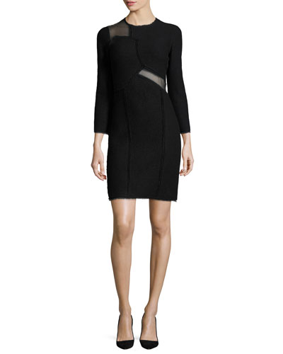 Mesh-Inset 3/4-Sleeve Sheath Dress, Black