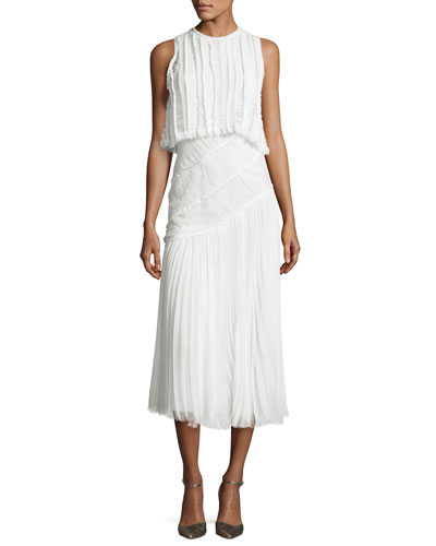 Pleated Chiffon Lace-Inset Dress, Chalk
