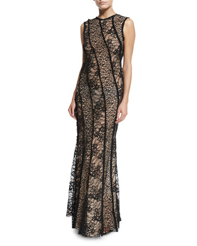 Sleeveless Corded Lace Gown, Black