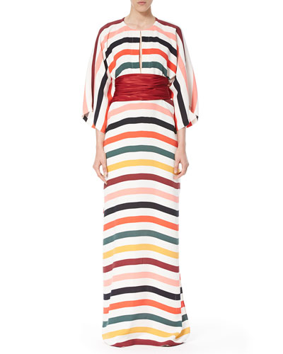 Striped Belted Caftan Gown, Multi