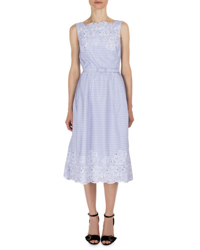 Striped Broderie Anglaise Sleeveless Dress, Blue/White
