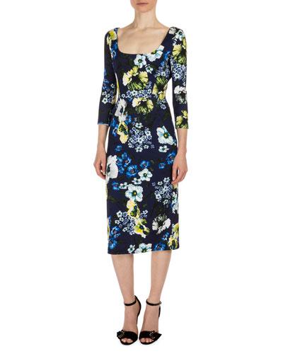 Tess 3/4-Sleeve Floral-Print Dress, Navy/Yellow