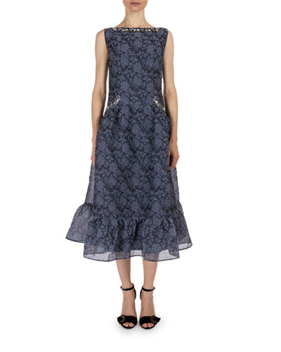 Floral Jeweled-Trim Sleeveless Midi Dress, Slate Blue