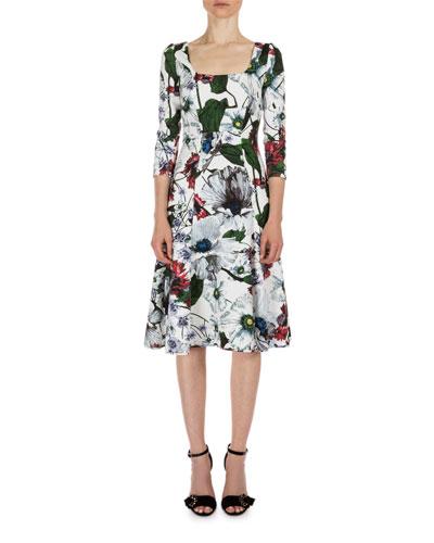 Yuki Garden 3/4-Sleeve A-Line Dress, Red/White