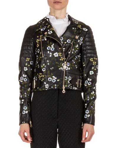 Frazey Floral-Embroidered Leather Biker Jacket, Black/Multi