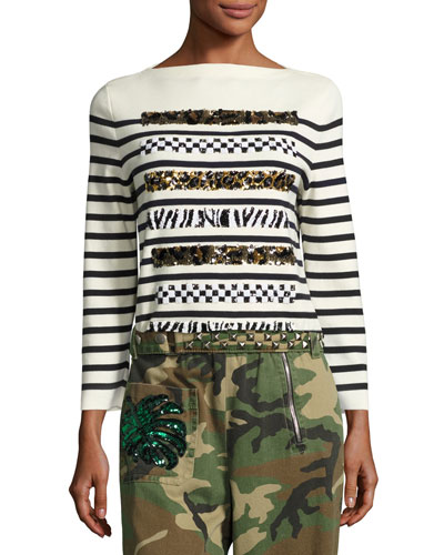 Animal-Sequin Striped Sweater, Navy/Off White