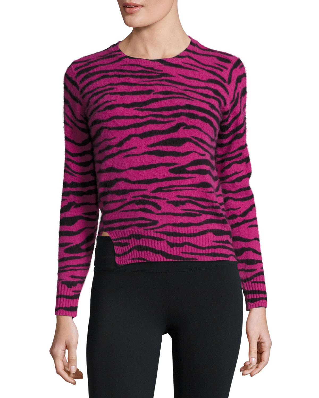Cashmere Tiger-Print Crewneck Sweater, Pink/Multi