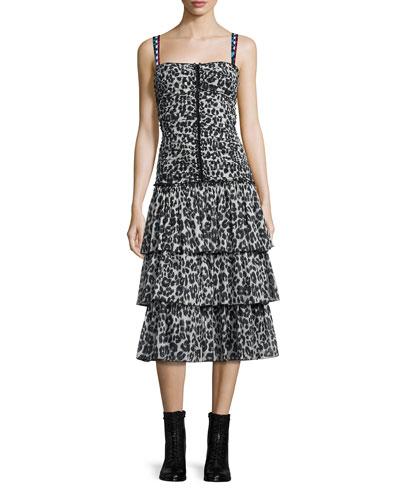 Tiered Leopard-Print Midi Dress, Bone/Black