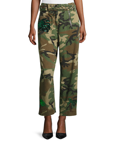 Paradise-Patch Camouflage Pants, Multi