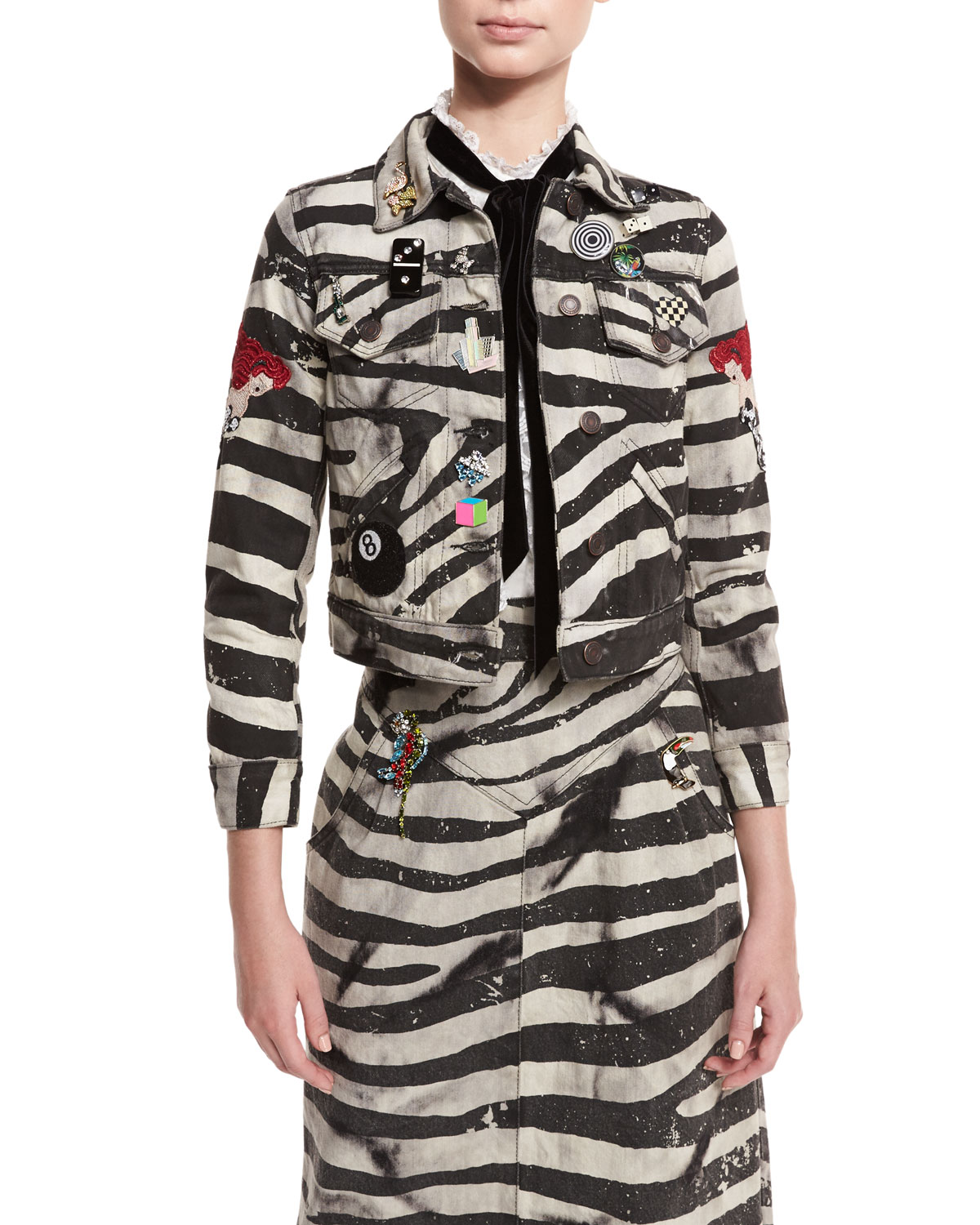 Embellished Zebra-Print Denim Jacket, White