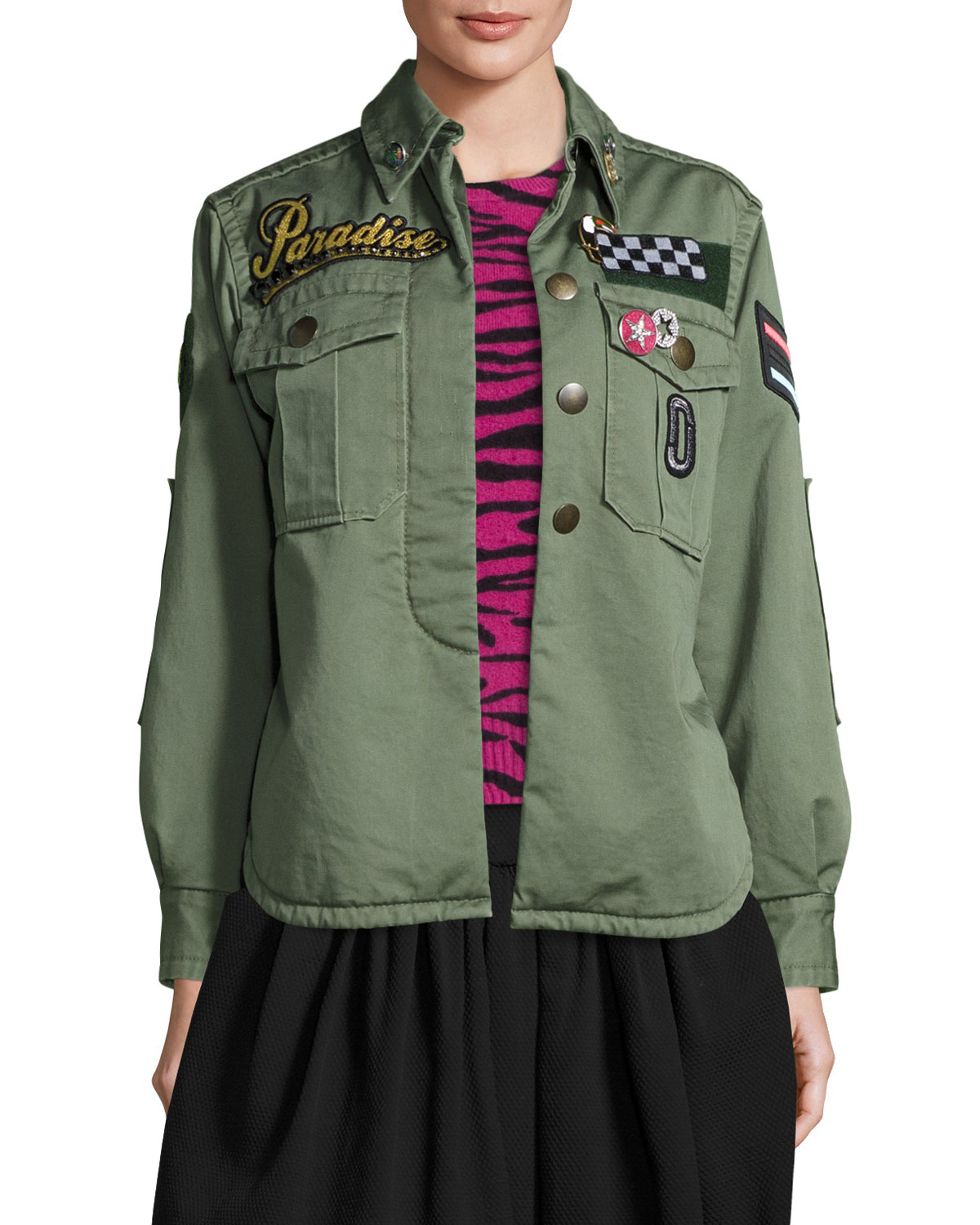 Paradise-Appliqué Military Jacket, Military Green