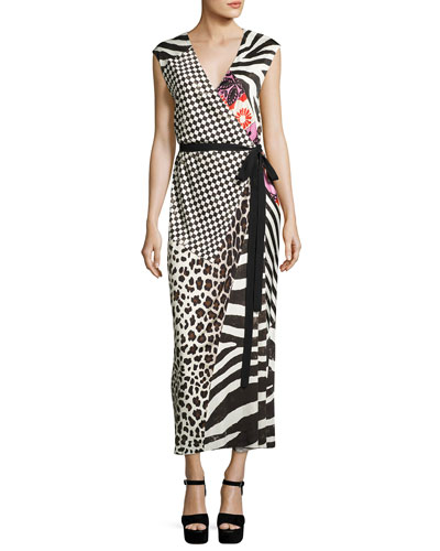 Mixed-Media Sleeveless Jersey Wrap Dress, Black
