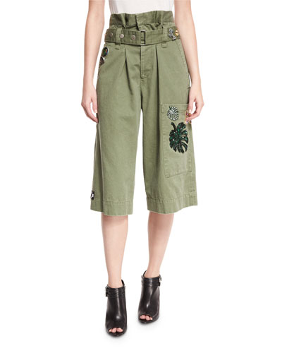 Embellished Cargo Shorts, Military Green