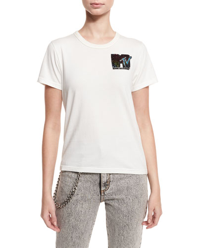 Classic Sequined MTV Tee, Ivory